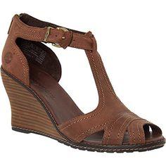 Timberland Dark Brown Leather Wedge Sandals