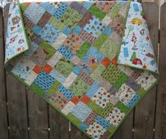 Easy squares.  Interesting design.  Fox Trails fabric for Riley Blake