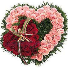 Meeting of mind  44 Pink and 33 red roses, match grass, arranged in overlapped heart-shape. (The picture is only for reference and the main items are the same, the effect is guaranteed.)