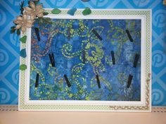 Framework  - used ribbon tape on frame to decorate. Paper background, chicken wire with little clothes pin.