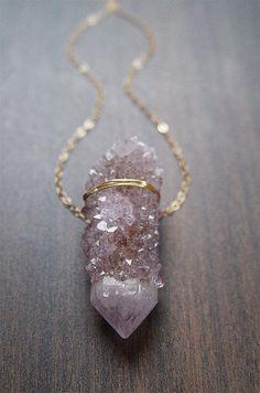 Lavender Spirit Quartz Necklace Gold OOAK by friedasophie on Etsy, $69.00