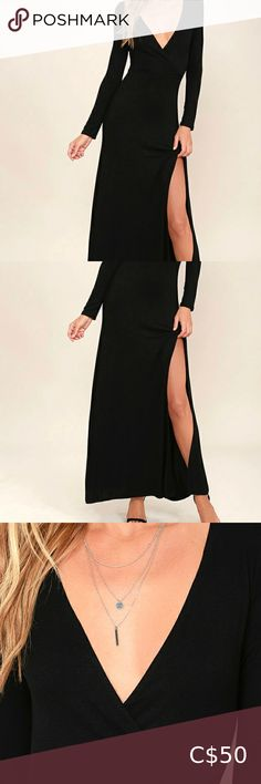Black Long Sleeve Maxi Dress Never worn. Brand new. Dreamy jersey knit is formed to a surplice bodice with long sleeves, and fitted waist. Maxi skirt flows to a sexy side slit.  Front of bodice is lined. 95% Rayon, 5% Spandex. Machine Wash Cold. Lulu's Dresses Maxi Long Sleeve Maxi, Maxi Dress With Sleeves, Lulu's Dresses, Plus Fashion, Fashion Tips, Fashion Trends, Bodice, Cold Shoulder Dress, Smoke Free