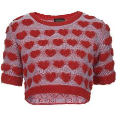 TOPSHOP Plush Heart Knitted Top ($52) ❤ liked on Polyvore featuring tops, shirts, sweaters, crop tops, crop, heart crop top, topshop shirt, topshop, red crop shirt and shirts & tops