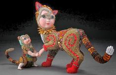 Androcles and The Cat Beaded Mosaic Art Sculpture by Betsy Youngquist