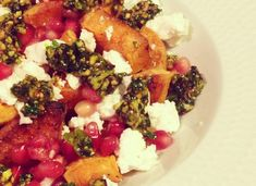 Sweet potato sallad with homemade gremolata, feta cheese and pomegranate seeds.