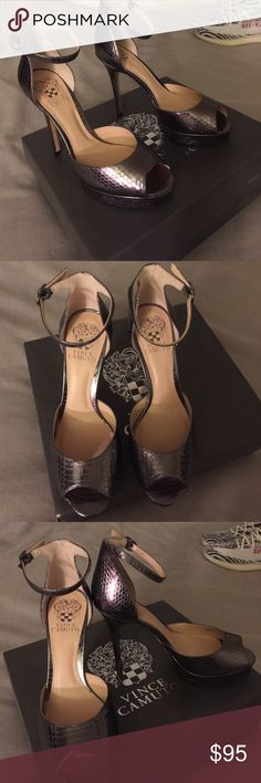 Vince Camuto Women's Lillith 2 heels NEVER WORN Vince Camuto women's Lillith 2 Heels COLOR: Moonrock NEVER WORN heels! SIZE 8.5 Reptile embossed leather upper with adjustable buckle at ankle. Vince Camuto Shoes Heels