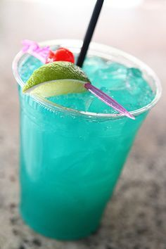 The Rio's Green Iguana has Cruzan Light Rum, Blue Curacao and pineapple juice.