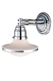 "RETROSPECTIVE 1 LIGHT WALL SCONCE IN POLISHED CHROME AND OPAL WHITE GLASS $158.00  9""H x 8""W x 11""E (1) 60 W Medium Bulb (not included) Polished Chrome And Opal White Glass ​"