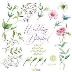 Wedding Bouquet Hand Painted Clipart Watercolor. por ReachDreams
