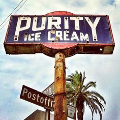 Purity Ice Cream vintage neon sign, Galveston, Texas : Purity Ice Cream vintage neon sign, Galveston, Texas by MOLLYBLOCK Vintage Signs For Sale, Vintage Metal Signs, Old Neon Signs, Old Signs, Advertising Signs, Vintage Advertisements, Sign O' The Times, Custom Metal Signs, Neon Nights