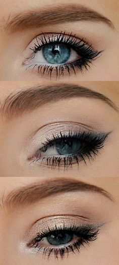 Easy 10 Minute Makeup Ideas for Work - Light Shemmering Taupe and Slate Blue - Simple And DIY Beauty Ideas And Make Up For Everyday Work Events To Get You Ready Quickly And Easily. Ideas For Different Faces, Eyebrows, Eyeliner, Eyeshadow, and Different Skin Colors - https://thegoddess.com/easy-makeup-ideas-for-work