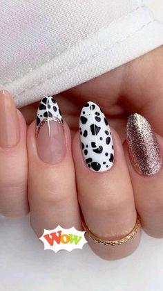 Cow Nails, Leopard Print Nails, Round Nails, Neutral Nails, Nude Nails, Fall Nail Designs, Animal Nail Designs, Cute Acrylic Nails, Beautiful Nail Art