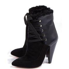 Iro Suede and Leather Shearling Lined Lace up Boots (586.280 CLP) ❤ liked on Polyvore featuring shoes, boots, ankle booties, black, black lace up bootie, black ankle boots, black ankle booties, ankle boots and lace up ankle boots