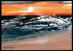 beach landscape created in Adobe Illustrator and Adobe Photoshop by Sandi Fender - www.sandipants.com