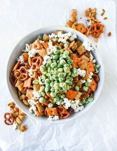 I like to think of there being two different components to this mix: we have the snack mix that contains the pretzels, nuts, chex, cheez-its (omg mandatory) and what not. Then we have the bacon fat popcorn. Snack Mix Recipes, Dinner Recipes, Snack Mixes, Party Recipes, Wasabi Peas, Healthy Snacks, Healthy Recipes, Healthy Eating, Chex Mix