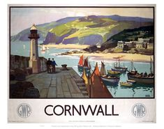 This Poster dates to 1937 Great Western Railway Travel poster showing a harbour scene in Cornwall the South of England Artwork by Leonard Richmond Posters Uk, Railway Posters, Poster Prints, Art Prints, Train Posters, Retro Posters, Poster Vintage, Vintage Travel Posters, Towns In Cornwall