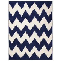 Room Essentials® Chevron Woolure Rug - Suddenly Sapphire 5x7 $79.99 ---- fun pop in the sitting area/keyboard/lounge space --- centered in the bay window