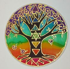 "Tree of Life mandala ""Tree of Health"" mandala, chakra art, silk art, tree art, spiritual art, meditation art via Etsy"