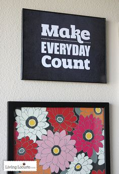 Make Everyday Count Quote  - Chalkboard Printable Wall Art. LivingLocurto.com