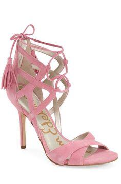 pink suede  lt 3 Lace Up Heels 50442d69c41