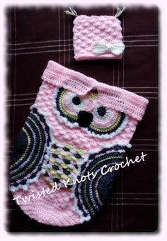 free pattern...Creative Crochet by Becky: Crochet Baby Owl Cocoon with Hat in Newborn and 3-6 Month Sizes