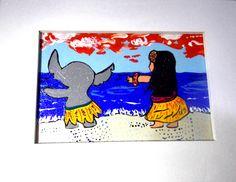 """""""LILO & STICH""""  Quadrinho decorativo; pintado à mão; madeira; 15x20 cm; entrega para todo o Brasil.   contato@gicabellinha.com"""