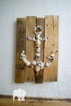 Pallet Art Natural Shell Anchor Wall Hanging - Rustic Shabby Chic Sharksteeth Nautical Seashore