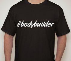 Mens Black Tshirt bodybuilder. Hashtag tshirt for by ECVinylSupply