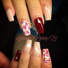Burgundy coffin rose art  acrylic nails follow on Instagram @audacious.nailsbyb