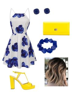 Women outfit White dress Yellow High Heels Blue Jewelry