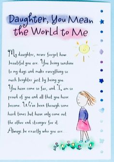 Motherhood Quotes Discover Daughter You Mean the World to Me greeting card girl for her gift collectible stationery everyday watercolor Ashley Rice Love You Daughter Quotes, Prayers For My Daughter, Mother Daughter Quotes, I Love My Daughter, Mother Quotes, Poems For Daughters, Valentine Quotes For Daughter, Beautiful Daughter Quotes, Mother Mother