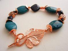 Gemstone beaded bracelet of teal dyed howlite by MadMamaMiller