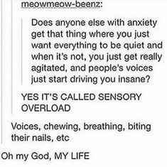 I hate this anxiety sensory overload Mbti, Sensory Overload, Memes, Haha, Stress, Understanding Anxiety, Anxiety Disorder, Mental Disorders, Social Anxiety