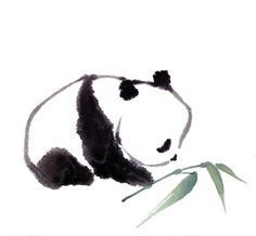 panda tattoo I would get because Pandas are my fave animal :) Chinese Painting, Chinese Art, Chinese Brush, Japanese Painting, Watercolor Animals, Watercolor Art, Simple Watercolor Paintings, Watercolors, Japanese Watercolor