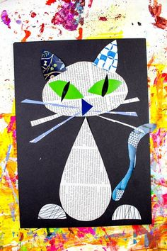 Arty Crafty Kids | Art | Cool Cat Newspaper Art for Kids | A fun recycled cat art project using recycled newspaper and magazines. With the help of a free template kids can make a cat that can strike multiple cool poses! #catbookforkids