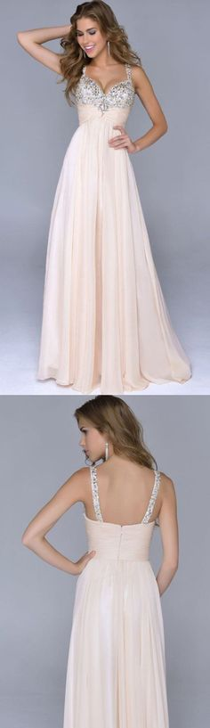 Beaded/Beading Prom Dresses, Champagne A-line/Princess Prom Dresses, Long Champagne Prom Dresses, Modest Spaghetti Straps Backless Beaded Prom Dresses Princess Prom Dresses, Prom Dresses 2016, Prom Dress Stores, Prom Dresses For Sale, Backless Prom Dresses, Black Prom Dresses, Evening Dresses, Long Dresses, Dresses Dresses