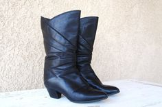 Black Vintage Leather woman size 6 Boot by MissLizzyD on Etsy, $35.00