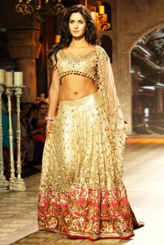 Bollywood actress Katrina Kaif walk the ramp for designer Manish Malhotra show at the Delhi Couture Week 2012, in New Delhi on Saturday. Indian Bridal Wedding Lehengas and Gowns 2016-2017  #GhagraCholi , #DesignerLehengas  , #BridalLehengas , #IndianBridal , #Bridalfashion  ,   #Bridalstyle , #BridalLehenga , #IndianWeddingSaree , #WeddingSaree , #IndianSaree ,   #LehengaCholi