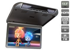 13.3 inch Flip down (roof mount) 1080P monitor with USB and HDMI, AVIS Electronics AVS440MPP (Metal Grey)