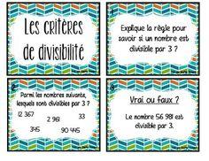 Cartes à tâche - les critères de divisibilité Schools First, Math Problems, Math Numbers, Fun Math, Division, Kids Learning, Classroom, Teaching, Education