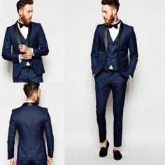 New Ideas Wedding Suits Men Groom Attire Black Tux Best Wedding Suits, Perfect Wedding Dress, Wedding Men, Wedding Tuxedos, Wedding Blue, Wedding Ideas, Blue Slim Fit Suit, Slim Fit Tuxedo, Groomsmen Suits