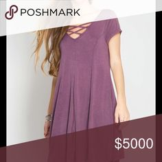 PRETTY MAUVE CRISSCROSS SWING DRESS 🌸Pretty Dusty Mauve Crisscross Tunic Dress 🌸Such a Gorgeous Color for Spring  🌸Short Sleeve 🌸Stone Washed 🌸Swing Hem Line  🌸Sizes S, M, L 🌸Cotton/Rayon Knit  Also available in Dusty Jade  🚫NO TRADES🔴ALL ITEMS ARE VIDEOTAPED &/OR PHOTOGRAPHED DURING PACKAGING Peach Couture Dresses