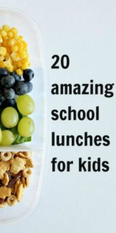 20 Amazing School Lunches for Kids.  Barring the cutesie animals, these could work for us.