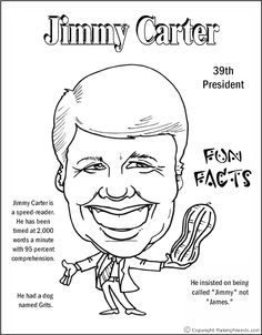 Jimmy Carter Coloring Page See Thomas Jefferson for a description. Social Studies Activities, Teaching Social Studies, President Facts, Washington Dc Travel, 2nd Grade Teacher, Jimmy Carter, Library Lessons, History Class, Holiday Activities