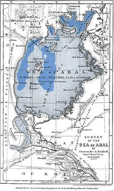 Aral Sea, 1849. The blue shaded area indicates the current, much diminished extent of the sea.