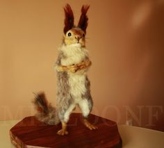 Squirrel needle felting red squirrel winter por MinzooNeedleFelting
