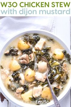Healthy Paleo Chicken Stew with Kale and Dijon Mustard, So simple to make and with ingredients you can find anywhere! it's also and gluten free. Vegetable Chili Recipe, Kale Vegetable, Vegetable Soup Healthy, Whole 30 Chicken Recipes, Stew Chicken Recipe, Creamy Potato Soup, Paleo Soup, Chicken Potatoes, Paleo Whole 30