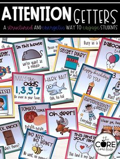 Display these 40 attention getters in your classroom as a quick reference to different ways of regaining your students' attention. EVERY teacher needs these!
