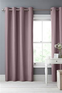 Buy Cotton Blackout Eyelet Curtains Studio Collection By Next from the Next UK online shop Blackout Eyelet Curtains, Elegant Curtains, Curtains With Blinds, Blackout Blinds, Mauve Living Room, Lounge Decor, Lounge Ideas, Front Rooms, Bedroom Vintage