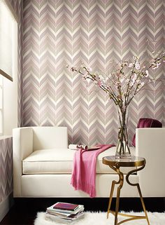 Gatsby Wallpaper in Pink, Purple, and Silvery Grey design by York Wallcoverings